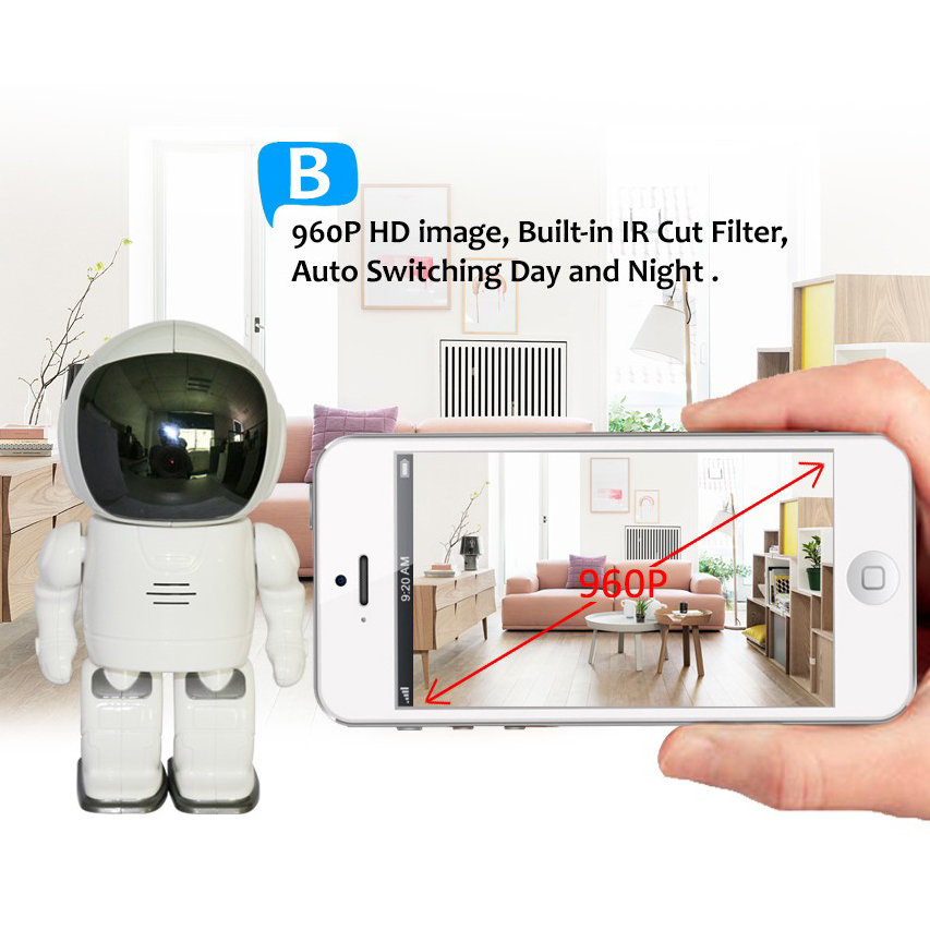 Image 3 - A180 Fashion Robot shape wifi camera support phone control Head Turn support  phone remote viewing Spaceman astronaut toy camera-in Surveillance Cameras from Security & Protection