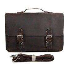 JMD New Arrive Hot Sale Dark Brown Crazy Horse Leather Men's Briefcase Handbag Laptop Bag Shoulder Bag 7035R-1