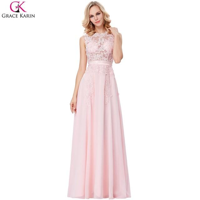 Grace karin abito da sera rosa chiffon eleganti abiti formali pizzo applique  vedere attraverso abiti occasioni 616619878b8