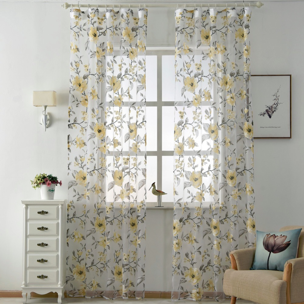 Floral tulle curtains modern sheer fabrics purple home textile kitchen door curtains short curtains living room window treatment in curtains from home