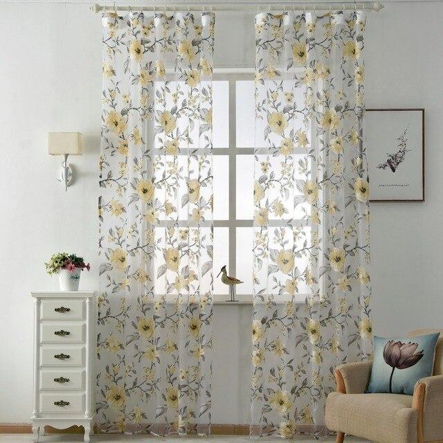 Floreale tulle tende moderna tessuti trasparenti viola tessili per la casa cucina tende per porte e tendaggi tende brevi soggiorno finestra di trattamento