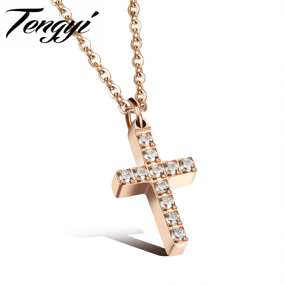 Tengyi women religious cross zirconia rose gold color 316l for Stainless steel jewelry necklace