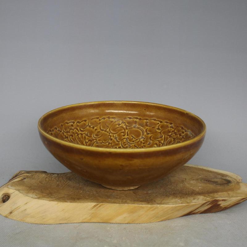 China old antique Porcelain JIZHOU kiln Yellow Glaze hand made Lotus Bowl