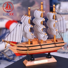 LUCKK 16CM Marien Style Wooden Model Ships Home Interior Decoration Accessories Wood Crafts Room Sea Handmade Souvenirs
