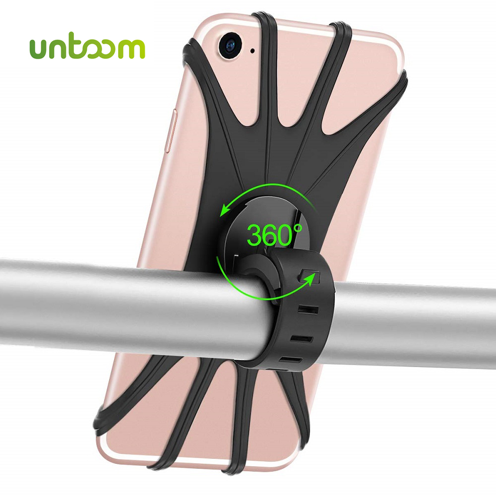 Untoom Silicone Bicycle Phone Holder 360 Degree Rotation Motorcycle Bike Handlebar Stand Mount Bracket For IPhone Samsung Xiaomi