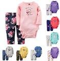 2017 Nueva Chica Boy Juegos de Ropa de Bebes 2 unids Mono de La Manga Larga + Pantalones Largos de algodón suave Bebé Juegos Infantiles conjunto de Ropa para bebés