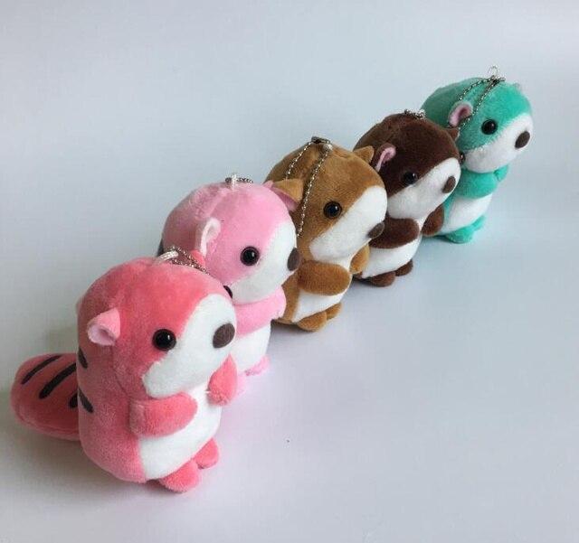 Novas Bonitos 5 Cores Escolha-Esquilo 9 CM brinquedo de Pelúcia, animal Plush Toy dolls, BONECA de BRINQUEDO de Pelúcia de Presente do miúdo com keychain
