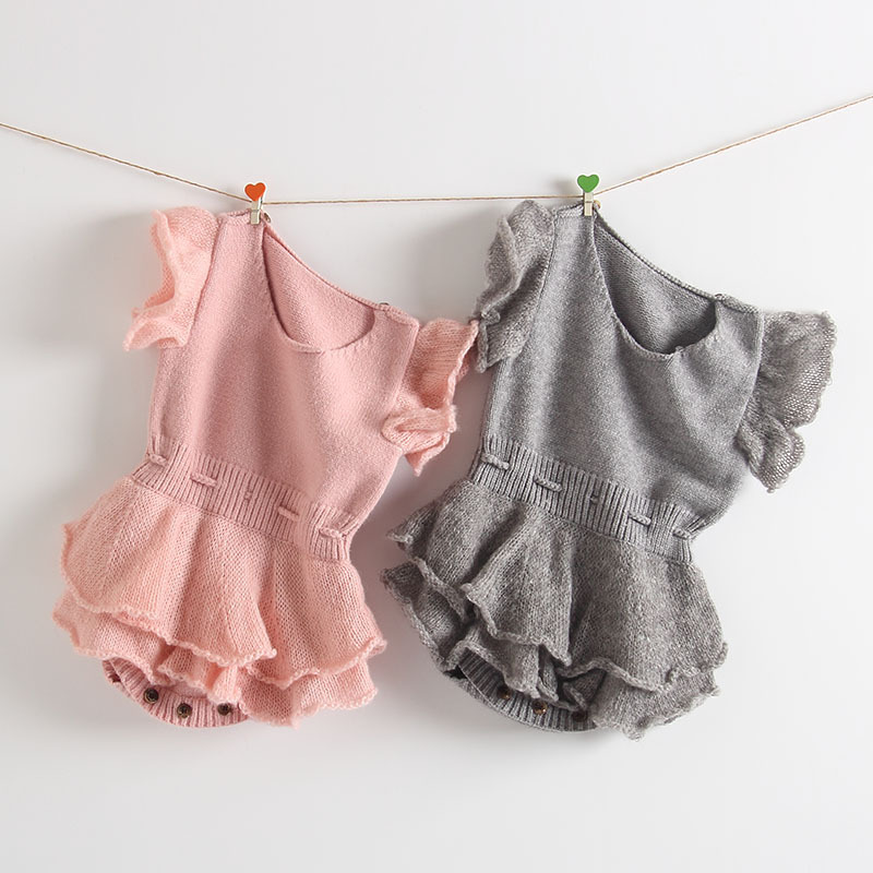2018 Autumn Winter Infant Overalls Baby Knitted Rompers Sweater Princess Bubble Lace Sleeve Girls Soft Jumpsuit Cotton Clothes