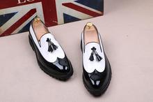 VIVODSICCO Black White Tassel Men bullock Dress Shoes Patent Leather Luxury Fashion Brogue Wedding Shoes Oxford shoes For Men