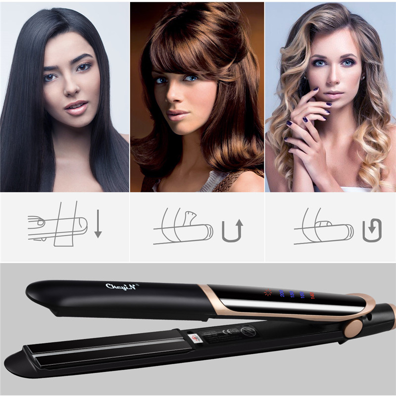 LED Display 2 In 1 Ceramic Hair Straightener Comb Hair Curler Roller Electric Detangling Hair Straightening Flat Iron Hair Brush