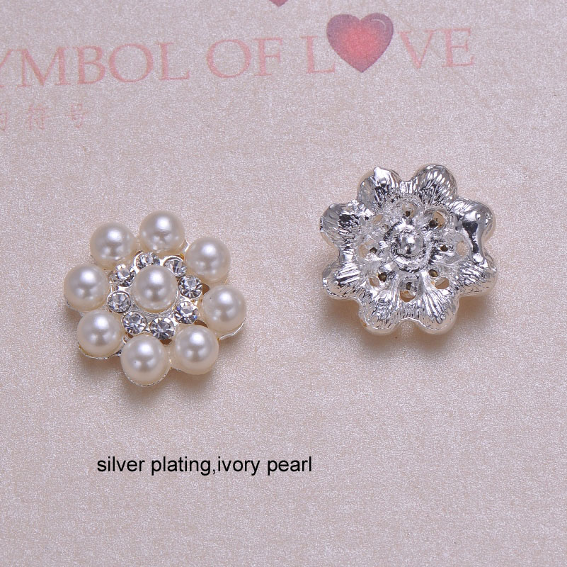 crystals In Light Rose Or Silver Plating,flat Back Superior Materials j0293 23mm Diameter Round Pearl Rhinestone Button,ivory Pearl
