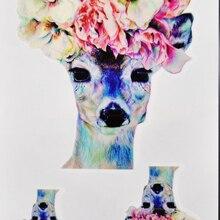 Fashion Waterproof Tattoo Sticker Nice Flower On The Deer Head Tattoo Designs Tattooing Temporary Body Art Tattoo