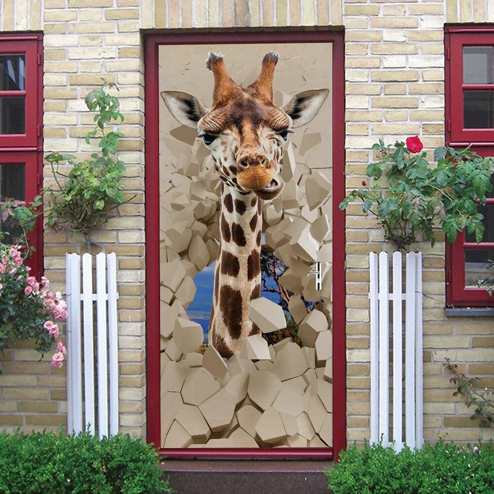 New Cartoon Giraffe Door Sticker For Home Door Decoration Renovation Animal Vivd 3D Self Adhesive Wall Decal On Door Wallpaper