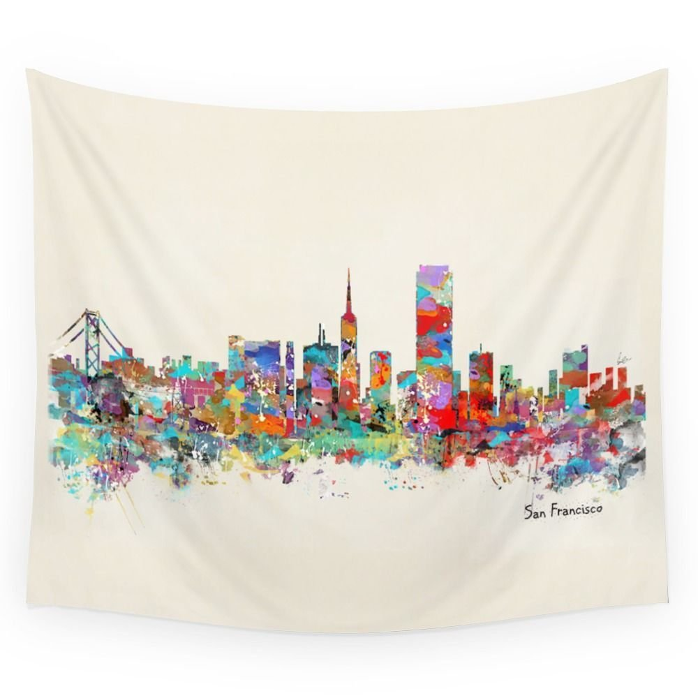 San Francisco Skyline Wall Tapestry Sandy Beach Picnic Throw Rug Blanket Camping Tent Tr ...