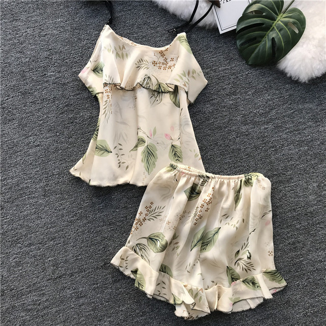 Freshing Summer Printing Slash Neck Women Pajamas Female Ice Silk Sweet Sexy Pijama Fashion Outwear Homewear