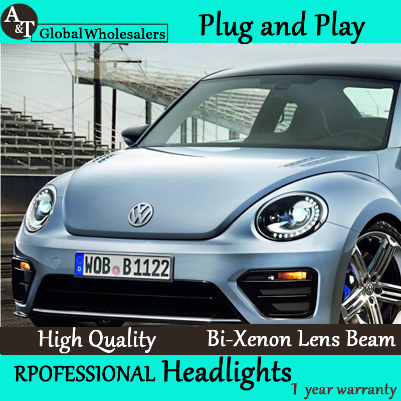 Car Styling for VW Beetles Headlight assembly 2013 Beetles LED Headlight DRL Lens Double Beam H7 with hid kit 2pcs. hireno headlamp for volkswagen tiguan 2017 headlight headlight assembly led drl angel lens double beam hid xenon 2pcs