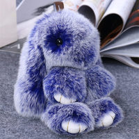 Rabbit Keychain Cute Fluffy Bunny Keychain Genuine Rabbit Fur Pompom Key Ring Pom Pom Toy Doll