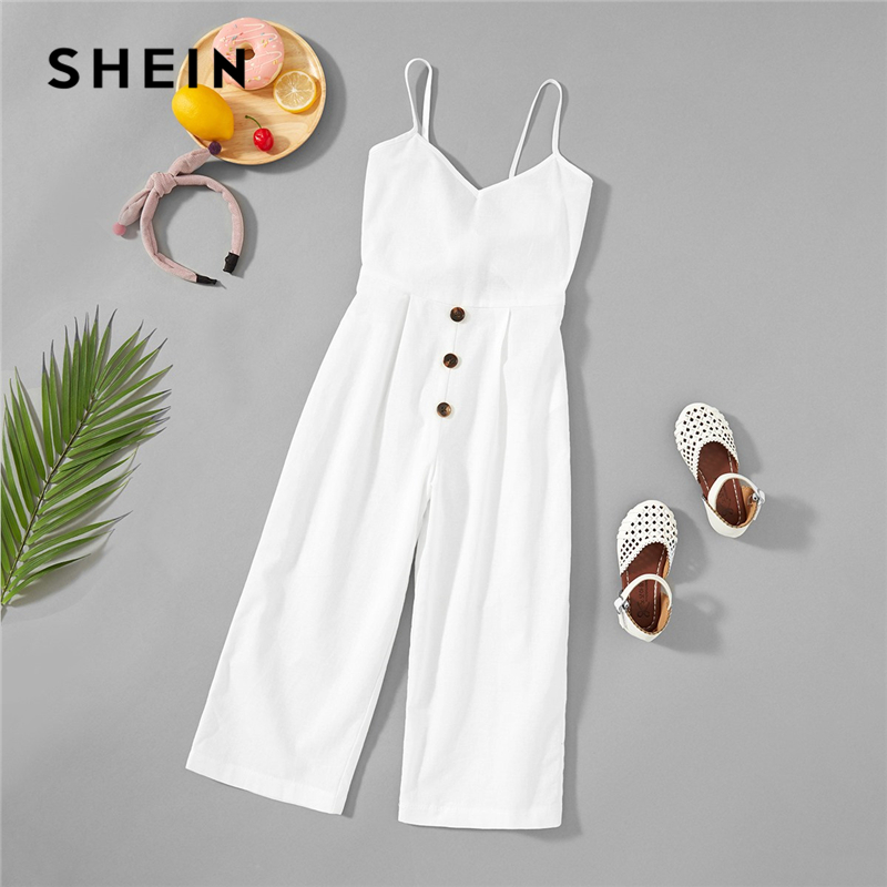 SHEIN White Solid Girls Button Up Front Cami Jumpsuit Children 2019 Spring Fashion Sleeveless Casual Jumpsuits For Kids Girls shein kiddie grey solid caged neck marled knitted skinny casual jumpsuit girls 2019 spring sleeveless criss cross kids jumpsuits