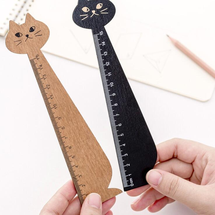 1PC New 15cm Animal Cat Shaped Wooden Straight Ruler 2
