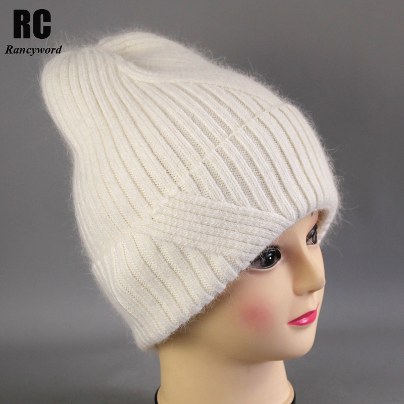 [Rancyword] Winter Hats For Women Wool Knitted Angora Hat Beanies Female Warm Rabbit Fur Skullies Beanie For Girl 2019 RC2053