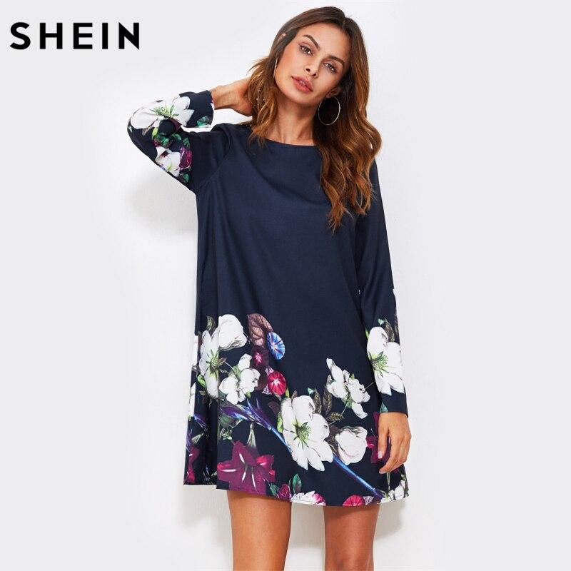 SHEIN Herbst Kleid Blume Drucken Flowy Kleid Marine Boat Neck Langarm A-linie Kleid Herbst 2017 Beiläufigen Frauen Kleid