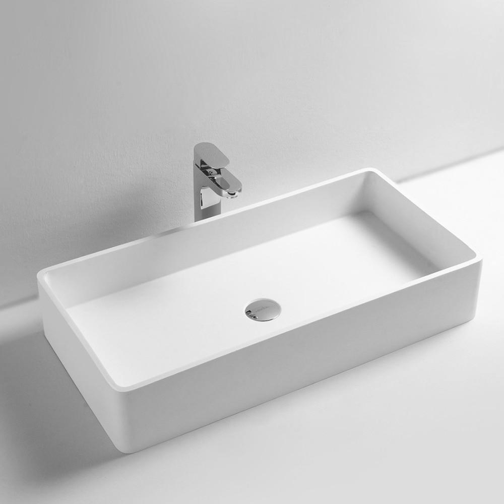 Corian Bathroom Above Counter Rectangular Wash Sink Matt Solid Surface  Stone Laundry Washbasin RS3813 517