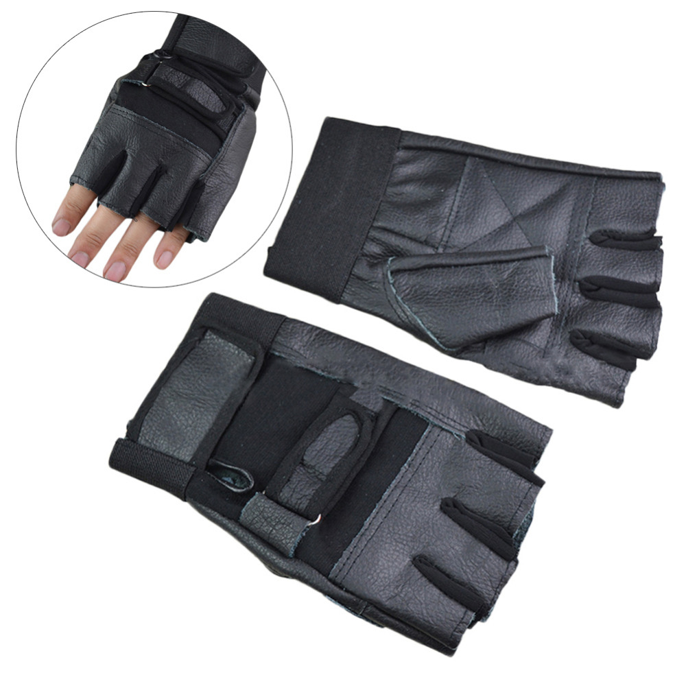 Weight Lifting Gloves Leather Fitness Gym Training Workout: 1Pair Men Black PU Leather Weight Lifting Gym Gloves