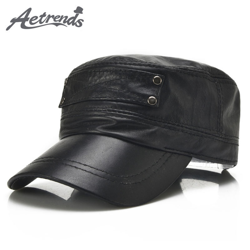 [AETRENDS] Black sheepskin genuine leather   baseball     cap   men branded flat   caps   dad hat outdoor leather hats gorras planas Z-5296