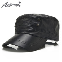 [AETRENDS] Black sheepskin genuine leather baseball cap men branded flat caps dad hat outdoor leather hats gorras planas Z 5296