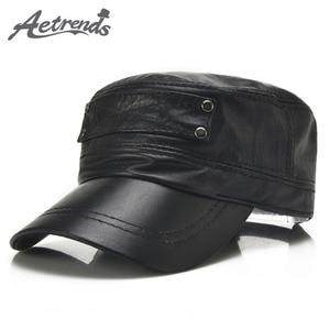 Image 1 - [AETRENDS] Black sheepskin genuine leather baseball cap men branded flat caps dad hat outdoor leather hats gorras planas Z 5296