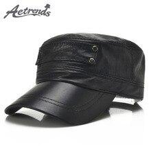 [AETRENDS] czarna kożuch oryginalna skórzana czapka z daszkiem mężczyźni markowe kaszkiety tata kapelusz odkryty skórzane kapelusze gorras planas Z 5296