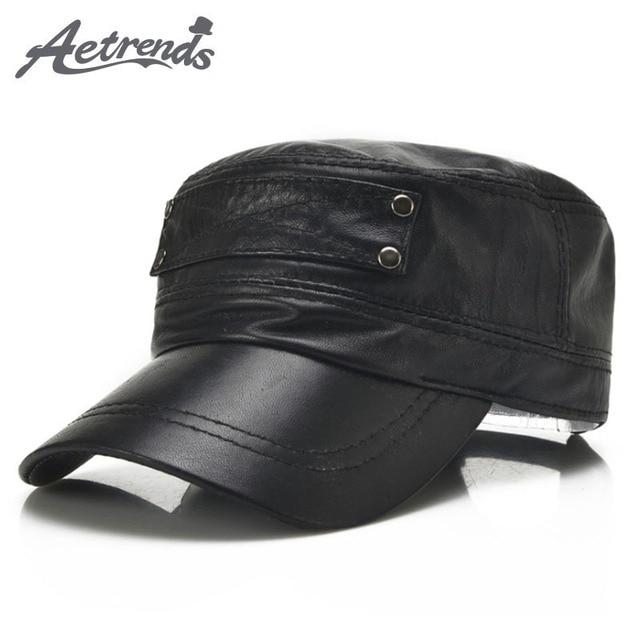 [Aetrends] 黒の羊革野球キャップ男性ブランドフラットキャップお父さん帽子屋外革帽子gorras planas z 5296