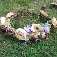 Women Newest Wedding flower crown flower wreath girl   floral headpiece colorful fruit Wreath