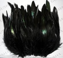 Free Shipping! 200pcs/lot  6-10cm Black Saddle Badger Rooster feathers Coque Feather