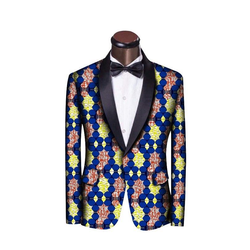 Hommes africains de blazers hommes ankara imprimer custom made col châle costume veste pour le mariage/parti unique conception dashiki vêtements