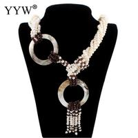 Natural Freshwater Pearl Necklace With Abalone Shell Tassel Chain Bead Sweater Necklace For Woman Jewelry Gift