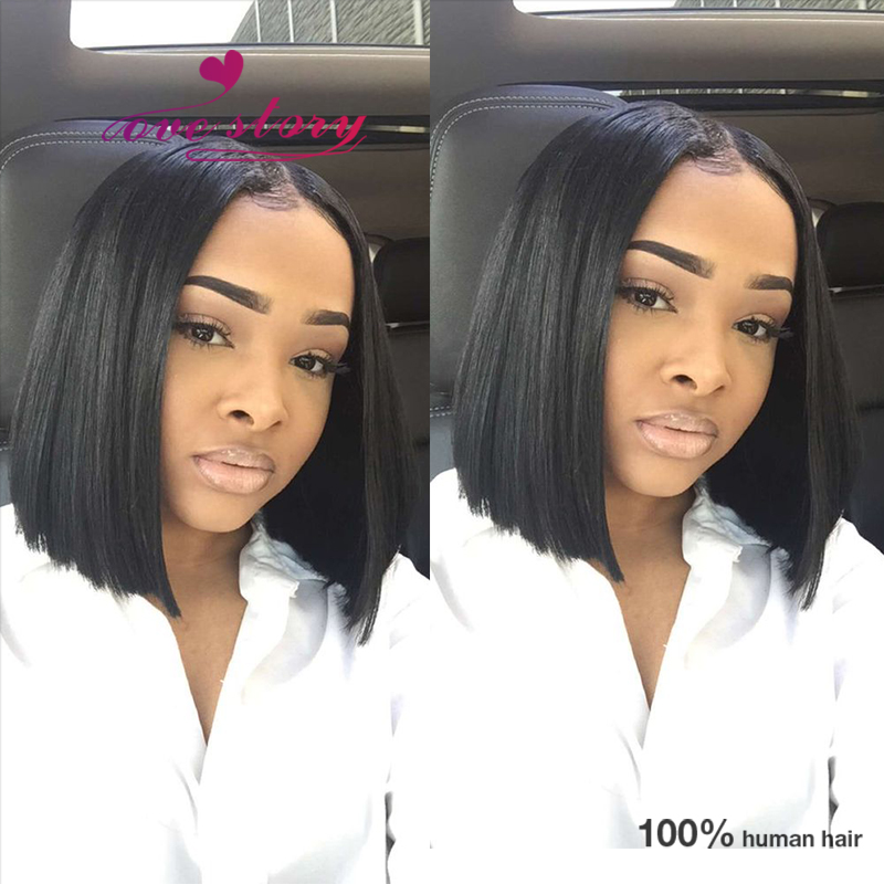 cut bob brazilian wigs human lace front wigs middle part short wigs ...