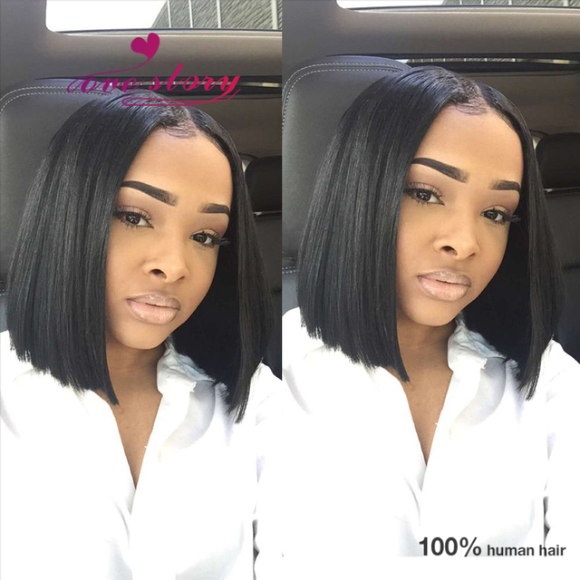 Blunt cut bob brazilian wigs human lace front wigs middle part short wigs  human hair full 0375ff2459
