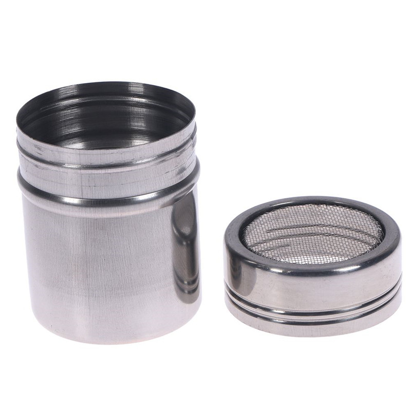 Free Shipping Stainless Steel Chocolate Shaker Cocoa Flour Salt Powder Icing Sugar Coffee Sifter Lid Shaker Cooking Tools