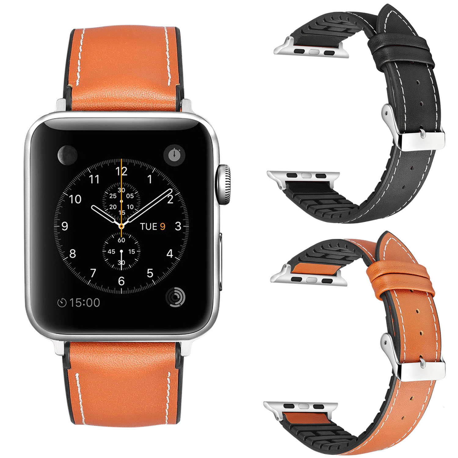 Black Brown Genuine Leather Strap for Apple Watch Series 1 2 3 Band Bracelet TPU Breathable Watchband 42mm 38mm w Metal Buckle genuine leather watchband for longines men leather watch strap for women metal buckle watch band belt retro watch clock band