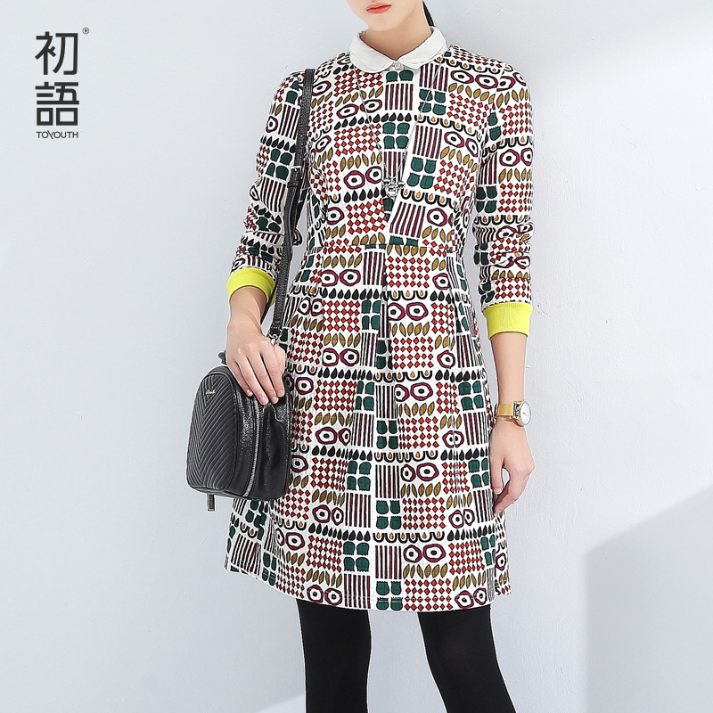 Toyouth Vintage Printed Long Sleeve Winter Dresses For Women Casual O-Neck Three Quarter Sleeve Dress Hit Color A-Line Vestidos