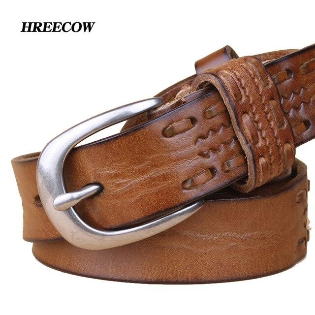 New Style fashion luxury designer belt women high quality full grain real genuine leather girdle belt for jeans