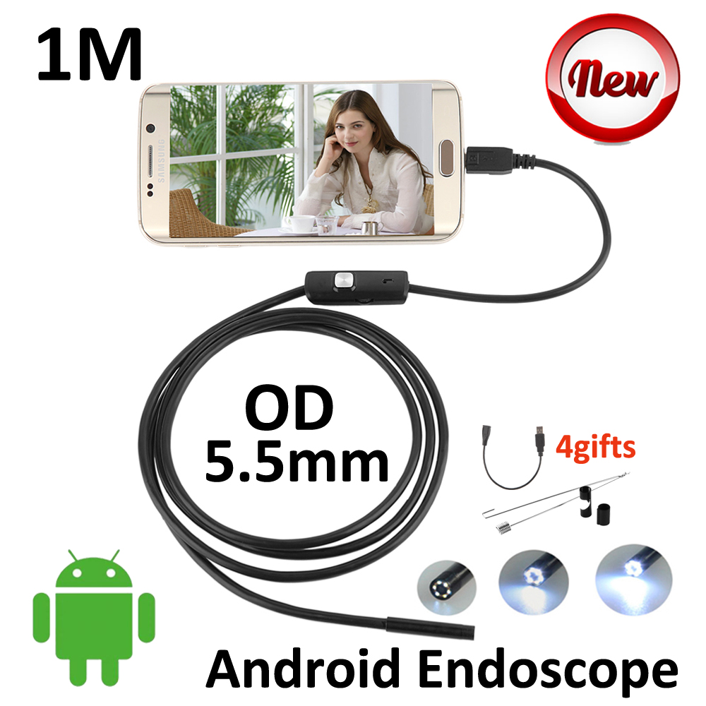 Micro USB 5.5mm Andoird Endoscope 1M Mini USB OTG Borescope Snake Tube Waterproof Android Phone USB Endoscopy Camera 6LED 2m mini android usb endoscope camera 5 5mm lens snake tube waterproof android phone otg usb endoscope borescope camera 6pcs led