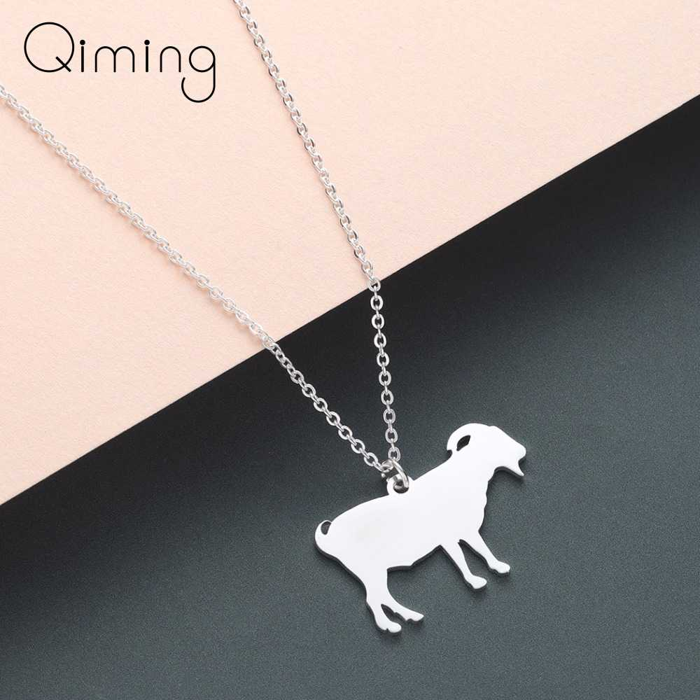 Овца Коза ожерелье девушки из нержавеющей стали ювелирные изделия фермы милые Забавный подарок на день рождения серебряные ожерелья в виде животных женщин