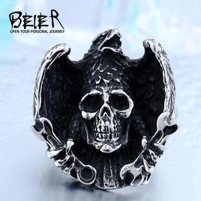 BEIER Cool Skull Halloween Ghost Ring Stainless Steel material Hiphop/Rock Cocktail Rings Jewelry for man BR8-435