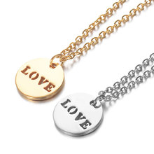 2019 316L Stainless Steel 4 Style Love Letter Charm Necklace Gold Silver Tone Heart Love Round Tag Pendant Long Chain Necklace