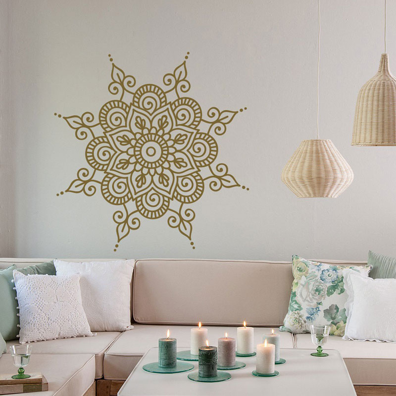 Hindu Mandala Yoga Indian Round Vinyl Decals Wall Stickers Home Decor Living Room Datura Flower Removable Mural Wallpaper MT01