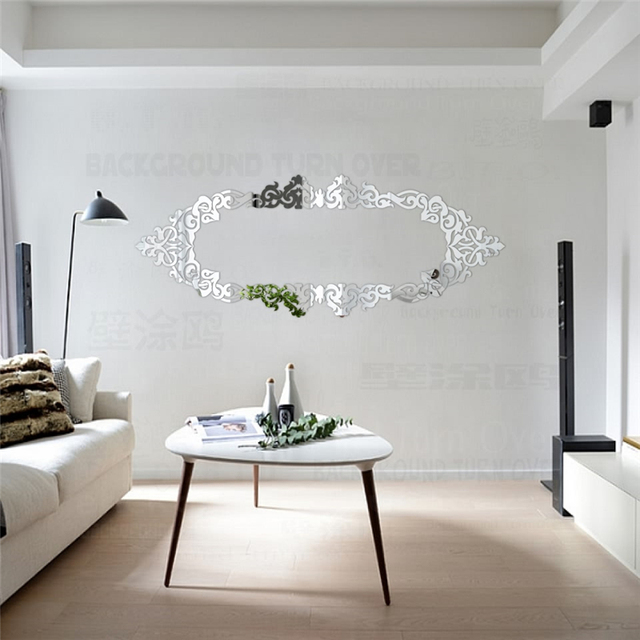Luxury Decorative Frame 3D Acrylic Mirror Wall Stickers Ceiling Living Room  Bedroom Wall Decor Vintage Poster