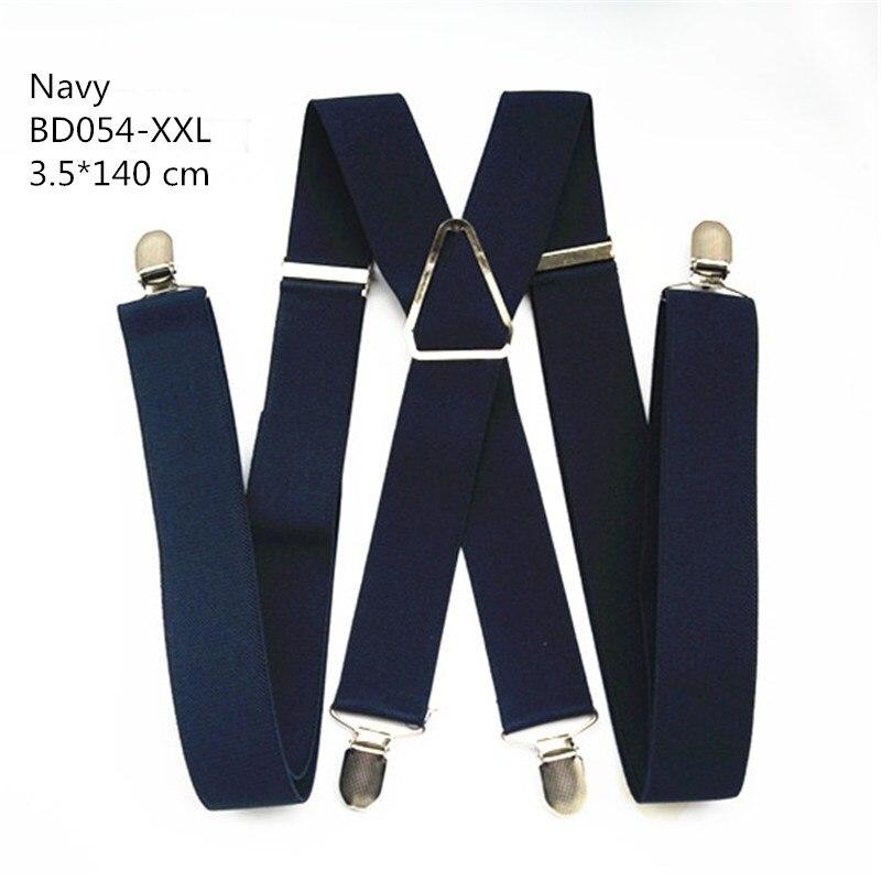 Одноцветные подтяжки унисекс для взрослых, мужские XXL, большие размеры, 3,5 см, ширина, регулируемые эластичные, 4 зажима X сзади, женские брюки, подтяжки, BD054 - Цвет: Navy-140cm