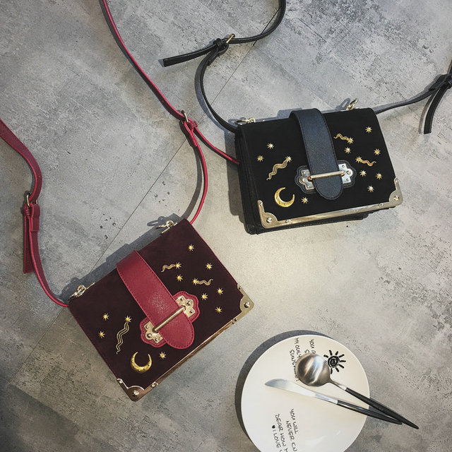 Nubuck leather moon star cahier astrology mini cross body bag women s  fashion stylish shoulder handbag vintate wine red bags 927ece1c73